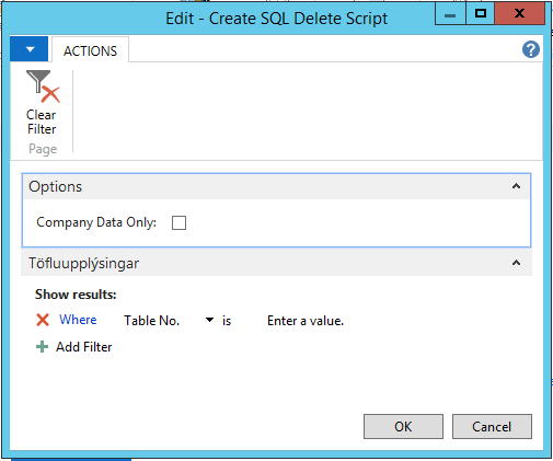 Delete out-of-license table data for NAV 2013 Image